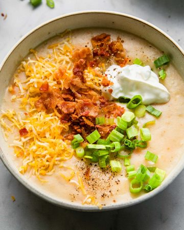 potato soup loaded with toppings