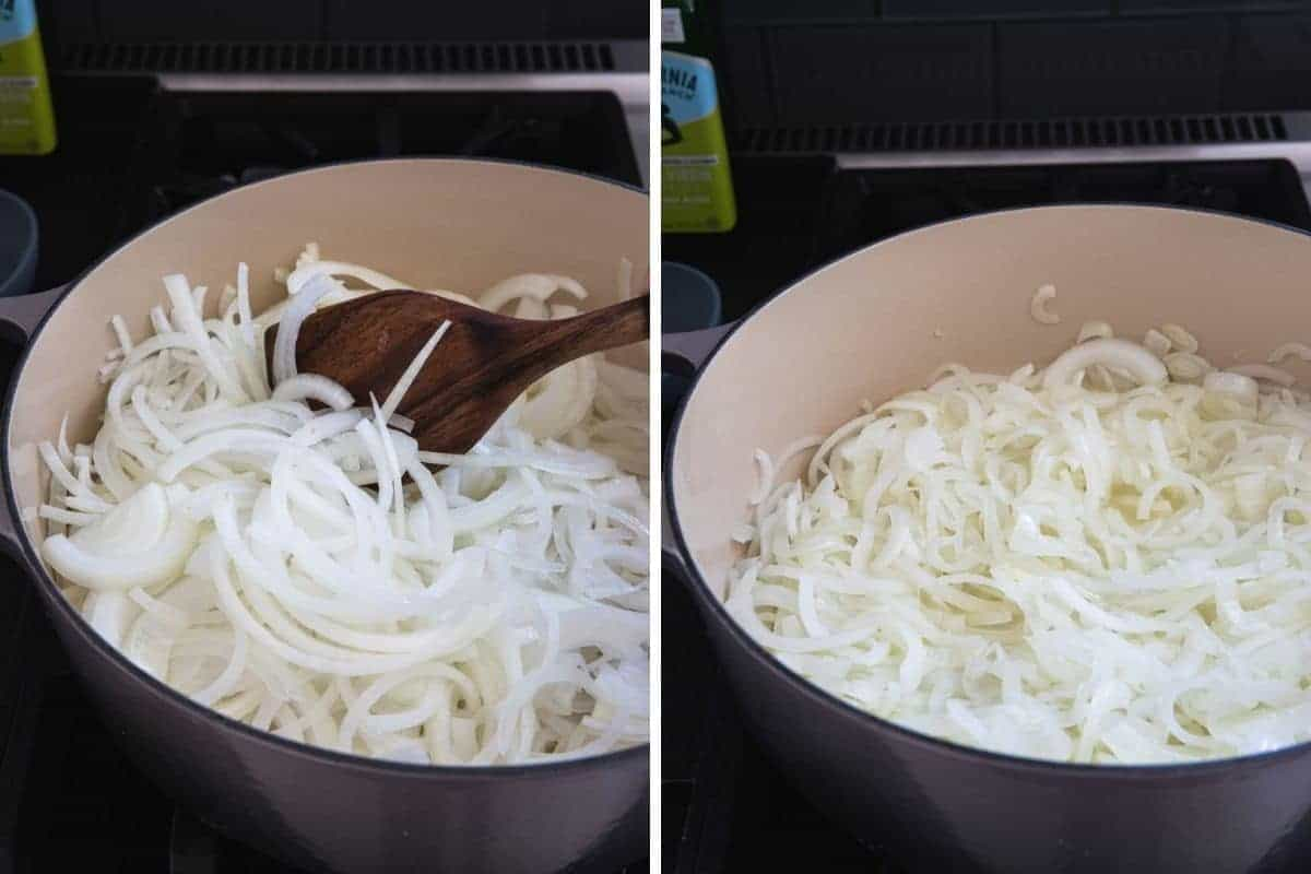 cooking sliced onions