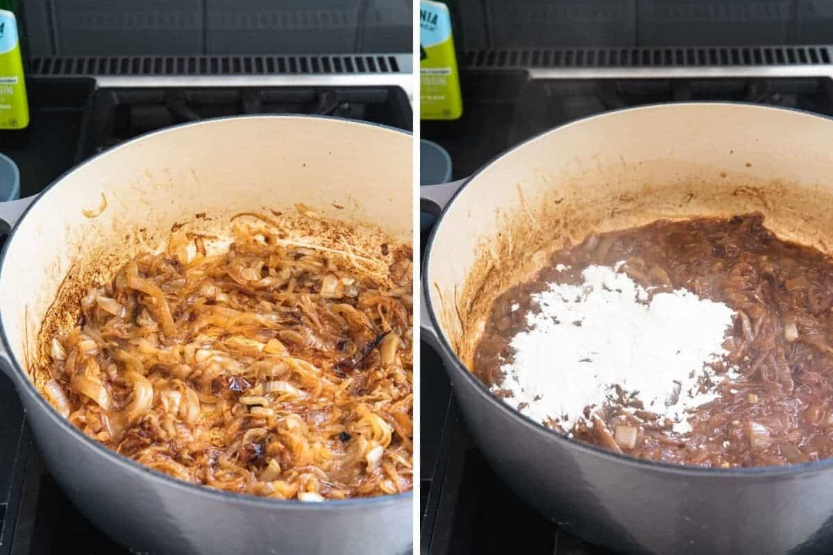caramelized onions with flour