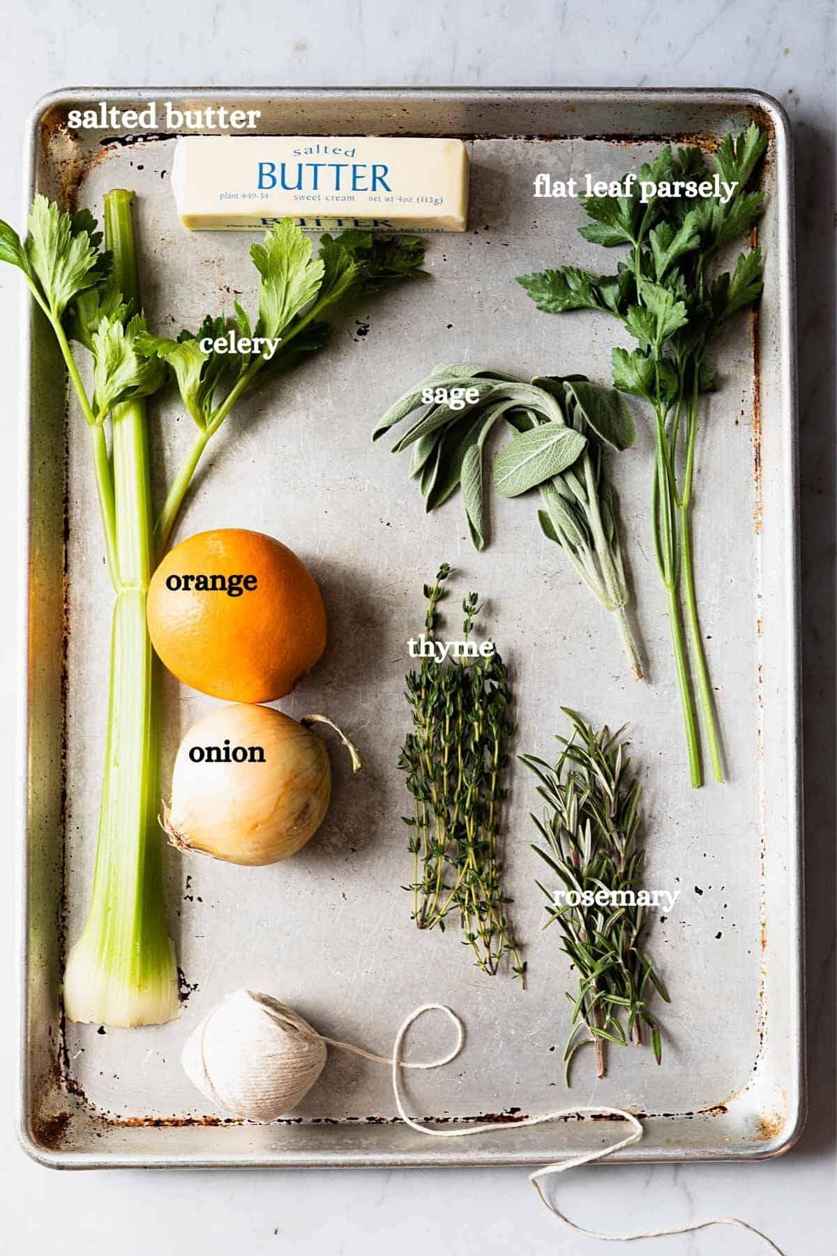 overhead shot of recipe ingredients with labels