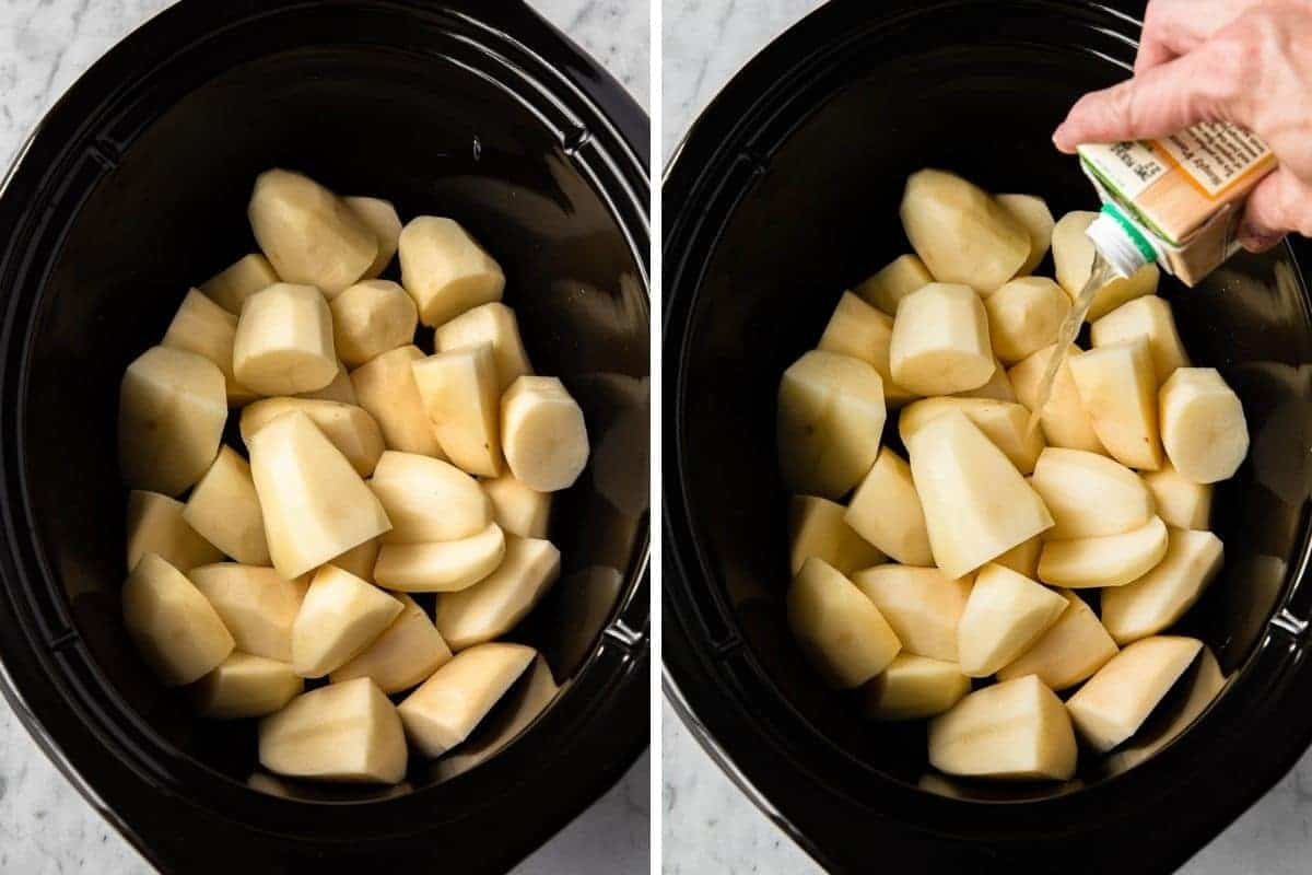 cut and peeled potatoes with chicken broth in a crockpot