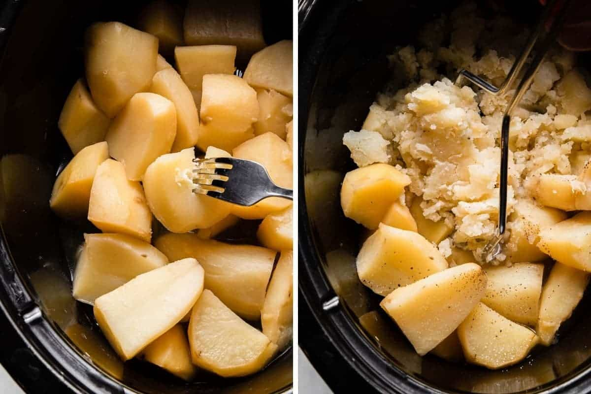 fork tender potatoes in crockpot being mashed