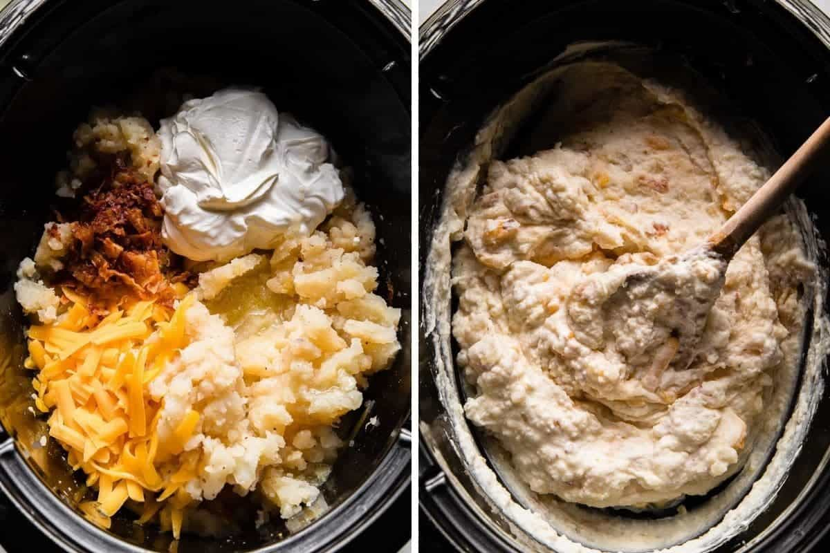 making loaded mashed potatoes in a crockpot