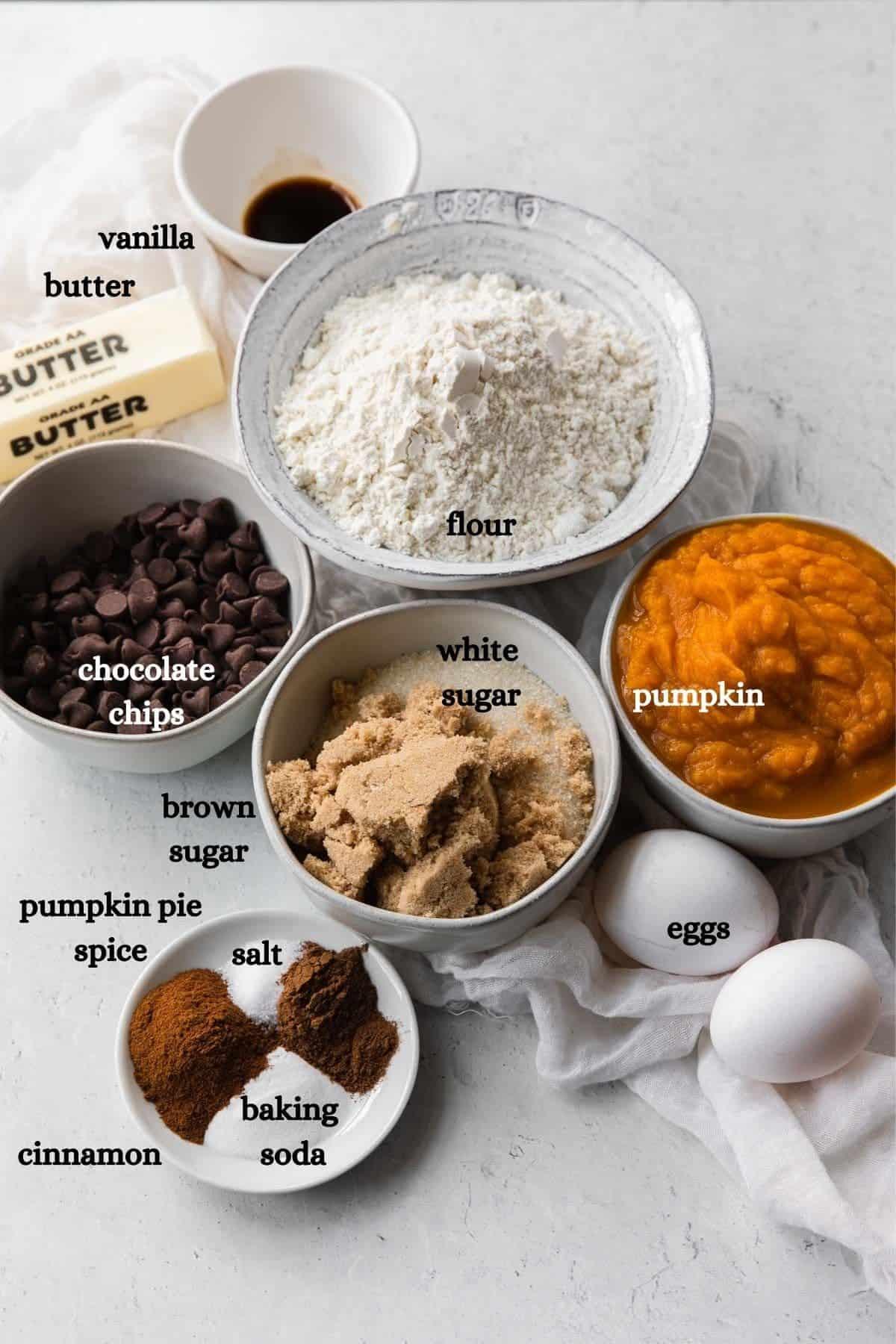 Vanilla, butter, chocolate chips, flour, white sugar, brown sugar, pumpkin, pumpkin pie spice, salt, cinnamon, baking soda, eggs.