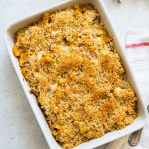 pumpkin mac and cheese in a casserole dish