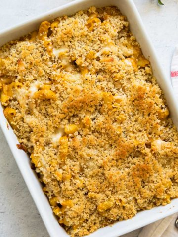 pumpkin mac and cheese in a casserole dish