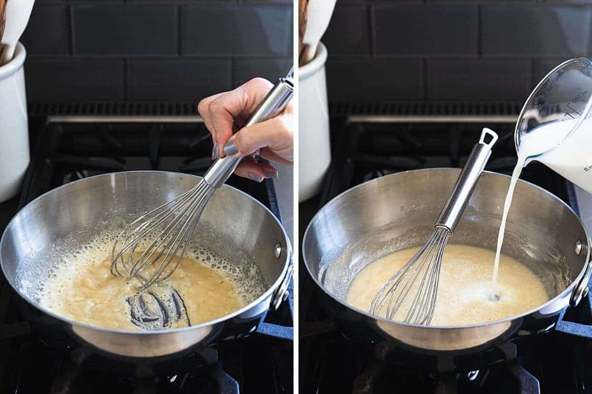 whisking butter and flour together then pouring milk into saucepan