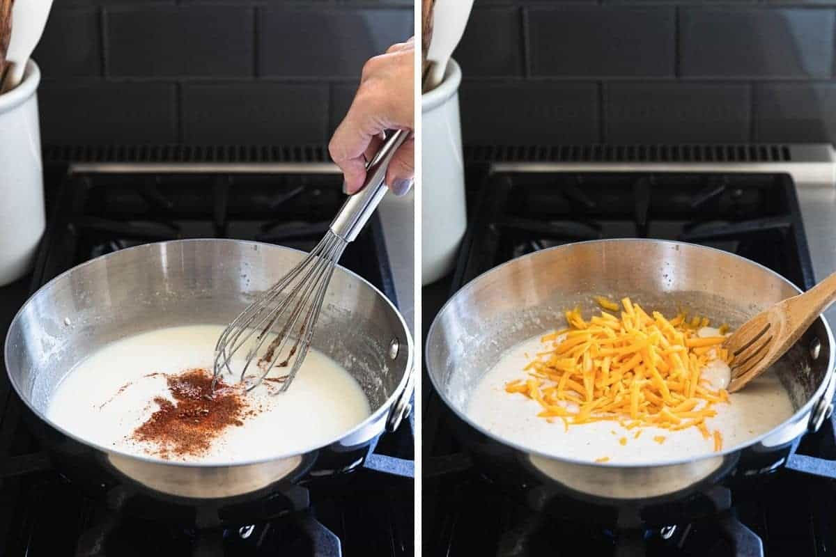 adding spices and cheese to saucepan
