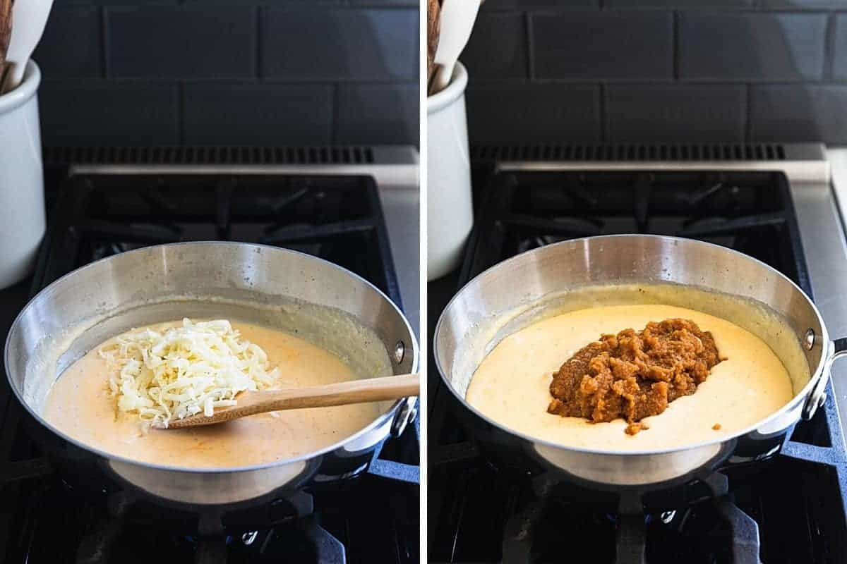 adding cheese and pumpkin to suacepan