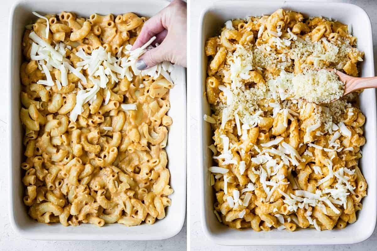 layering cheese and breadcrumbs over macaroni mixture in a casserole dish