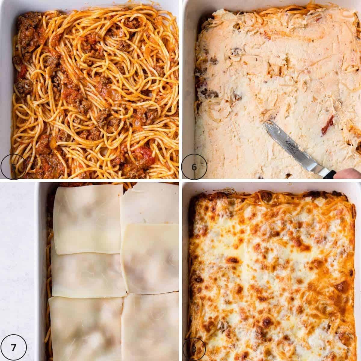 Making spaghetti in a casserole dish.