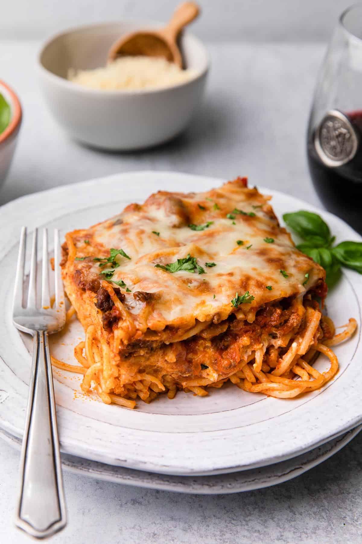 A piece of spaghetti casserole on a plate.