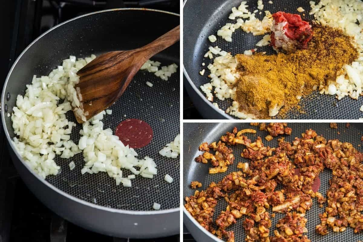 Cooking onions in a pan. Add spices to onions. Add tomato paste to spice mixture.