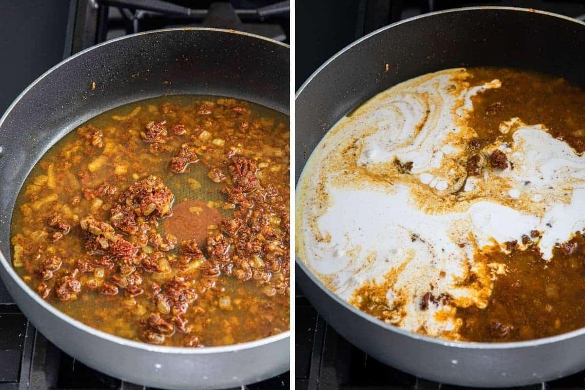 Add chicken broth. Add coconut milk to pan.