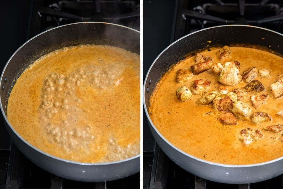 Simmering curry. Chicken and curry sauce simmering in pan.