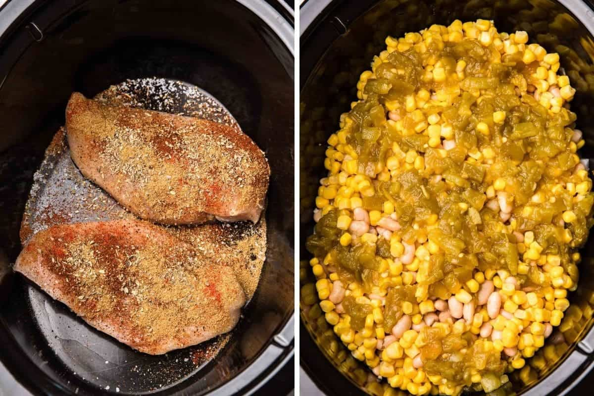 Chicken breast in slow cooker insert. Corn and green chilies in crockpot insert.