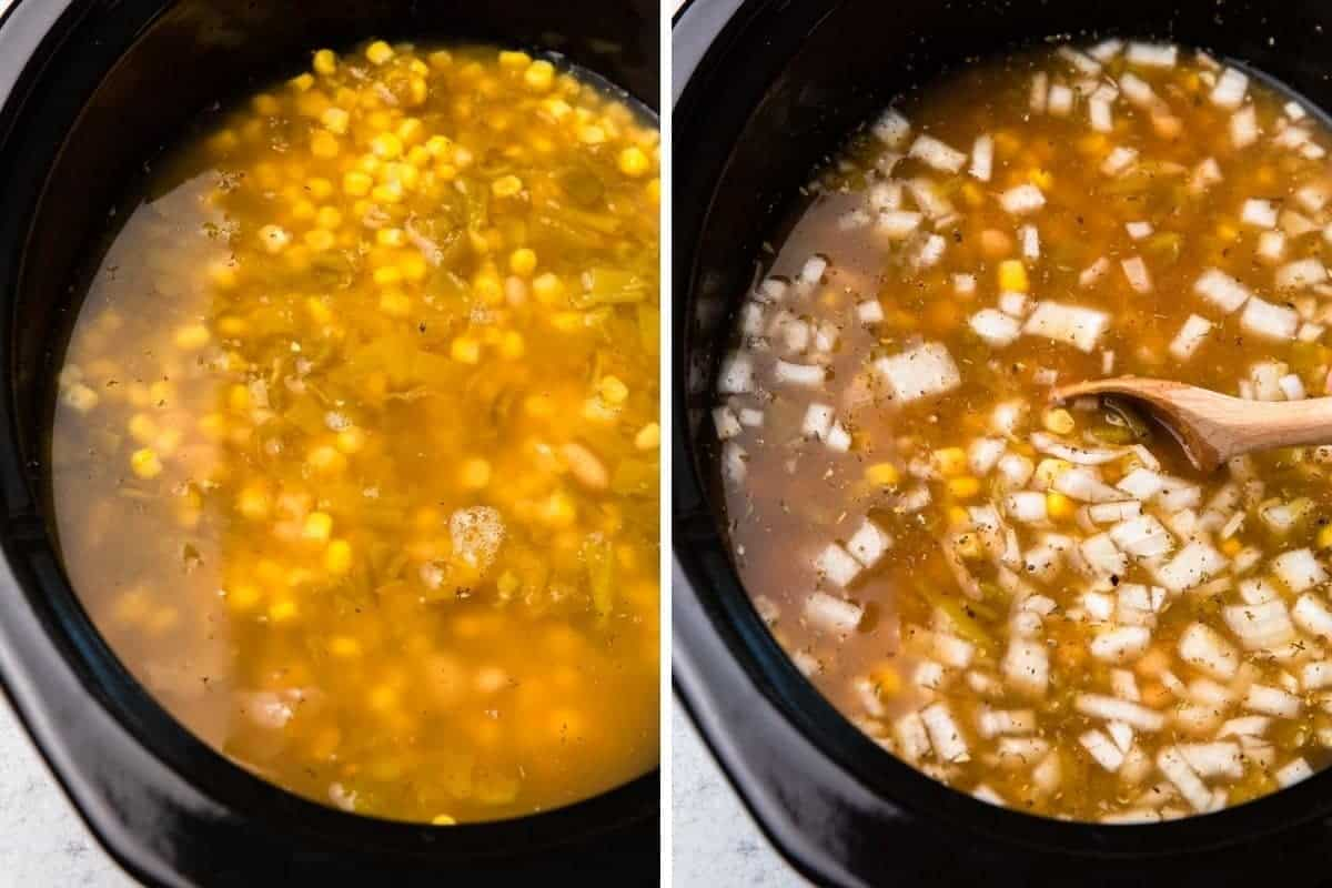 Soup ingredients in crockpot insert.