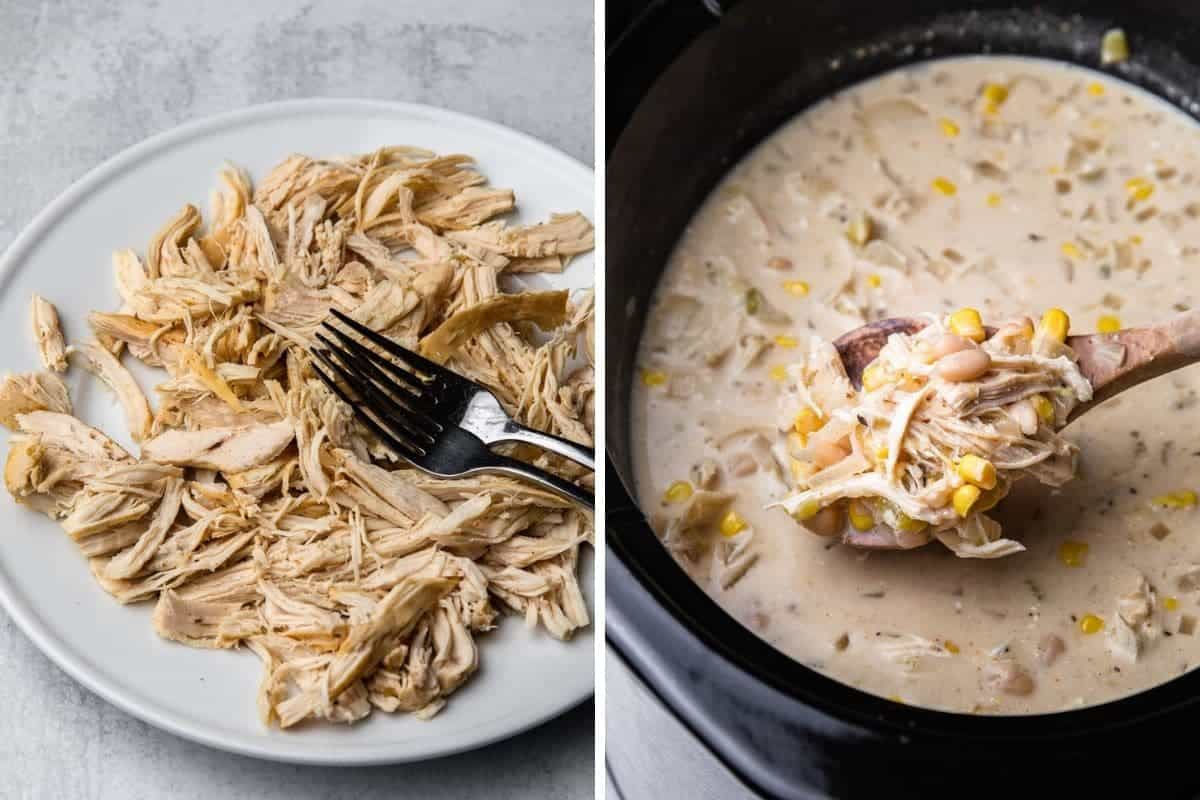 Shredded chicken on a plate. Crockpot with creamy soup.