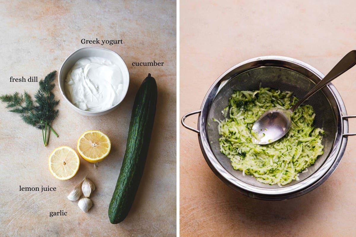Yogurt, dill, lemons, cucumber, garlic. Excess liquid draining from cucumbers.
