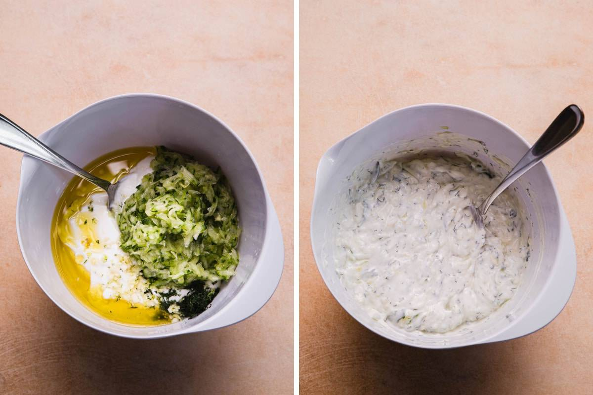 ingredients in a mixing bowl. tzatziki prepared in a mixing bowl.