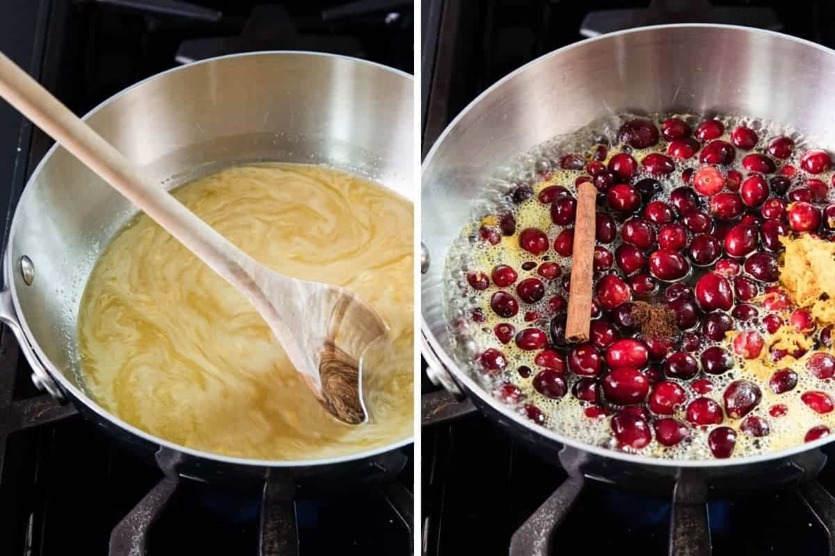 Orange juice and sugar in a sauce pan. Cranberries, cinnamon stick and orange zest in a saucepan.