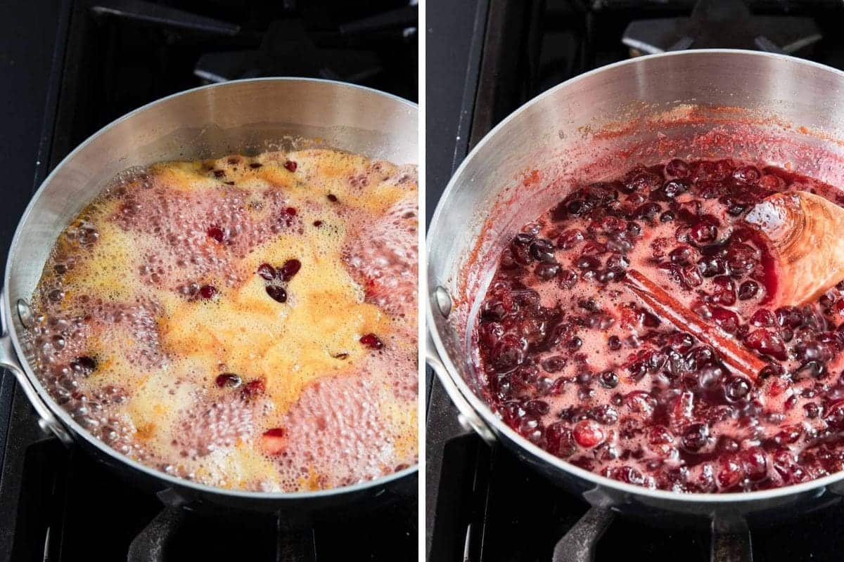 Cooking cranberries in orange juice. Cranberries sauce in a sauce pan.
