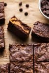 Pumpkin brownies cut into squares.