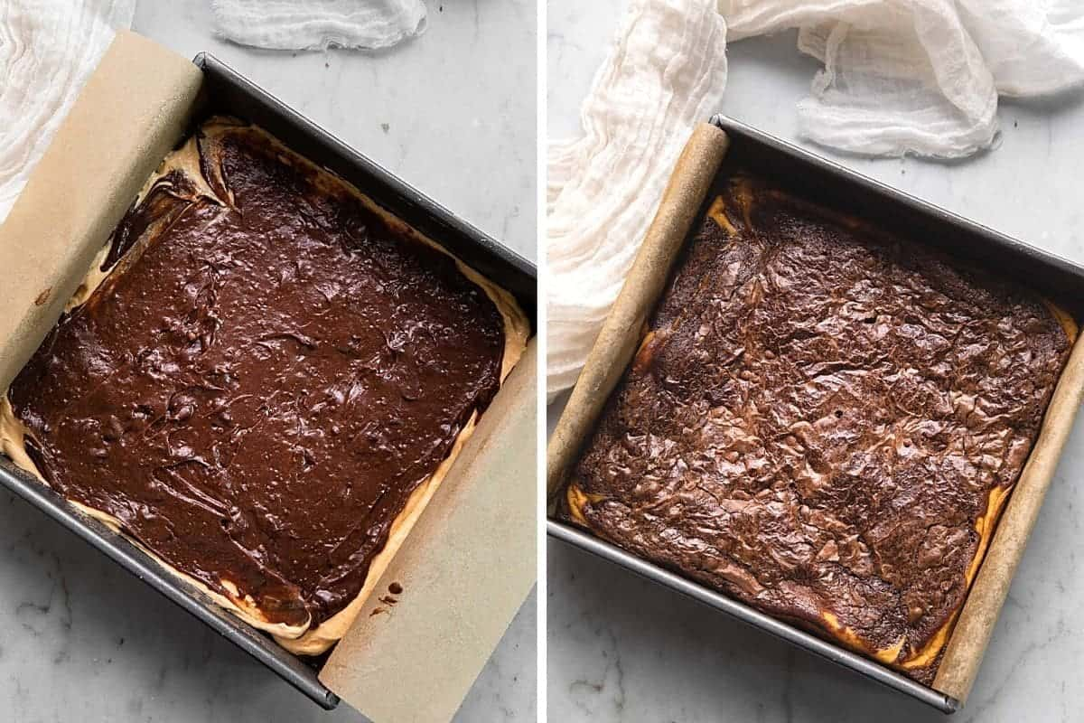 Pumpkin brownies before and after baking.