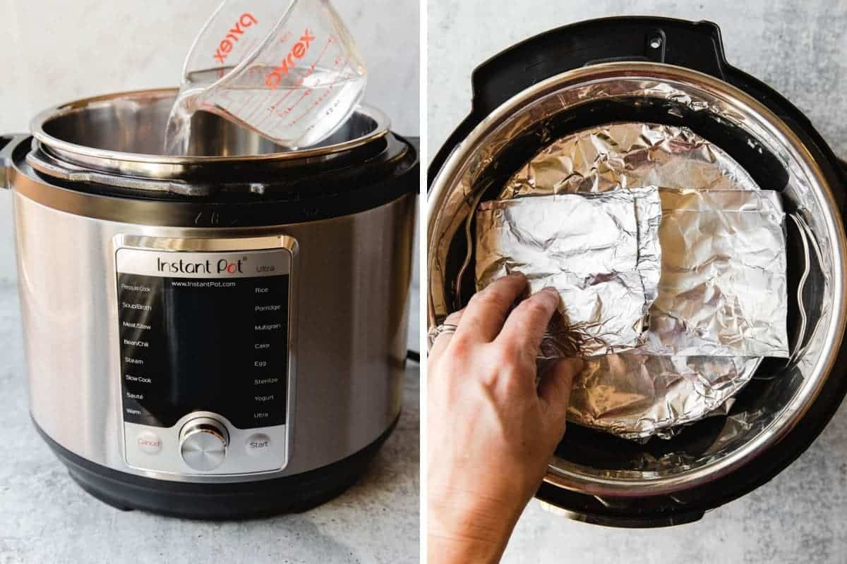 Add water to instant pot and place the casserole inside.