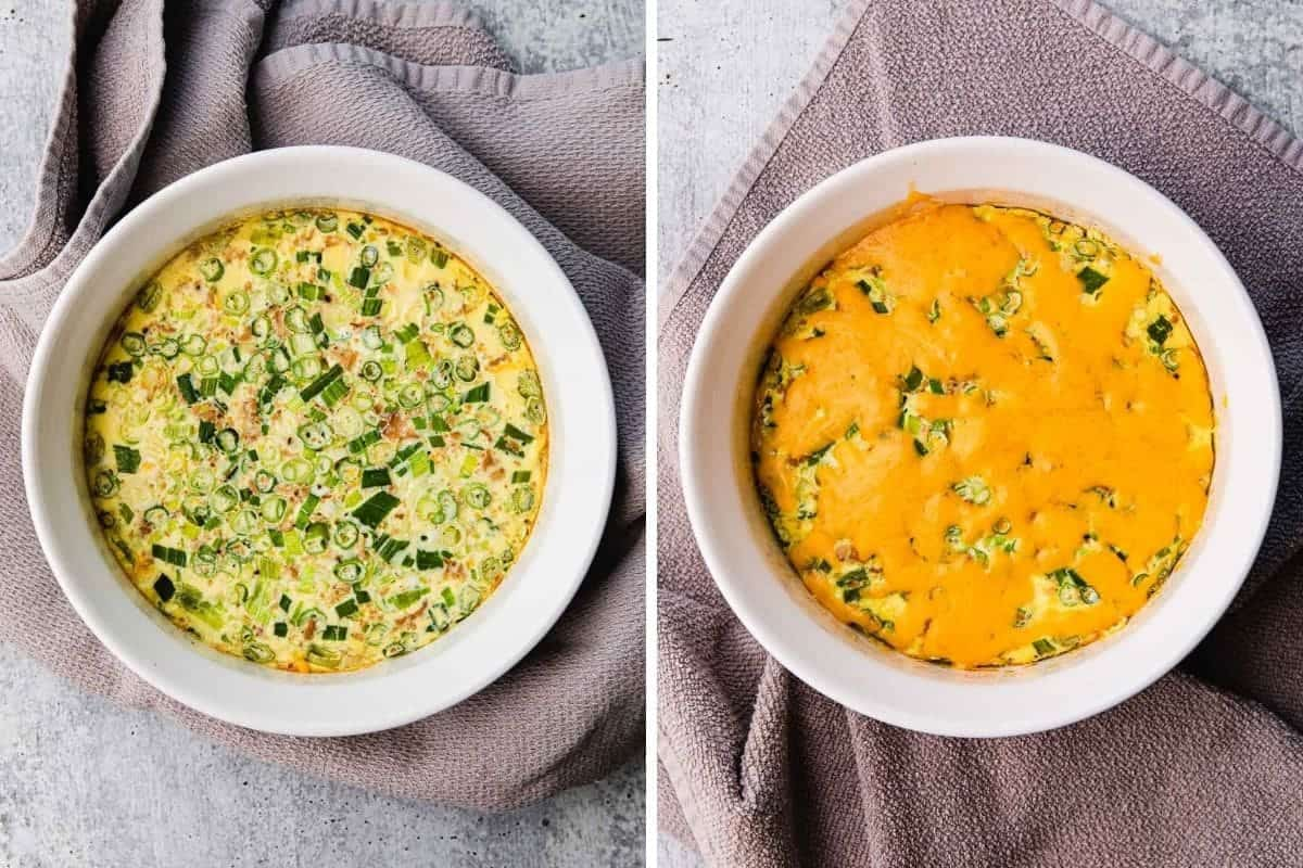 Cooke breakfast casserole with melted cheese on top.