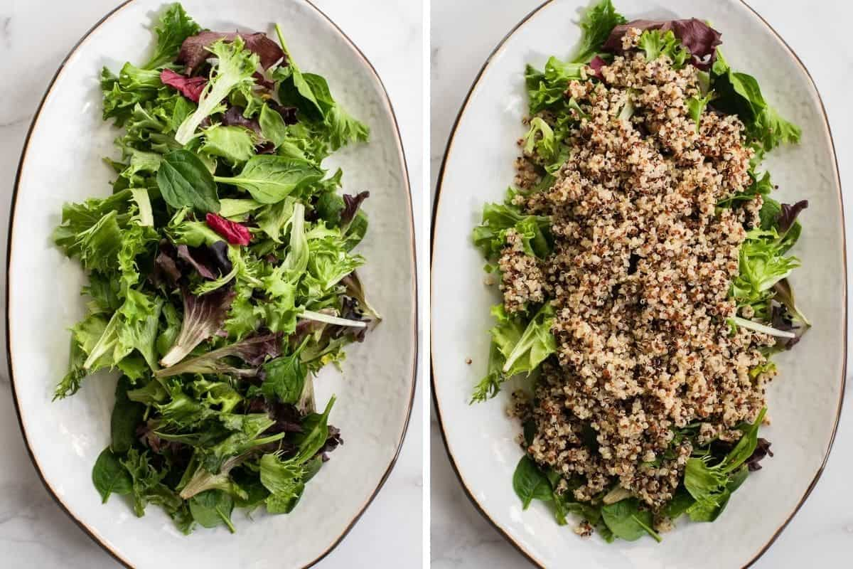 salad greens and quinoa on a large platter
