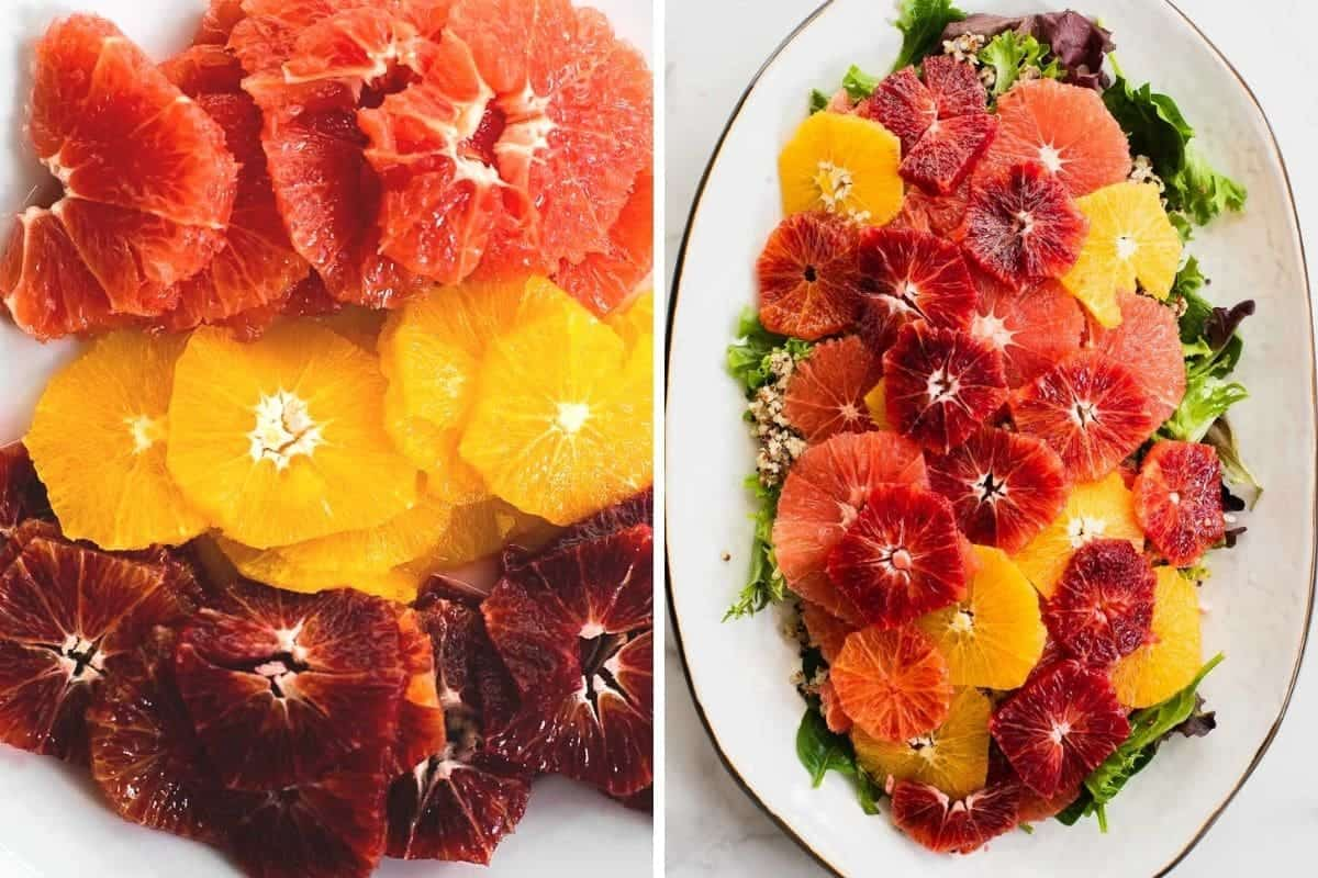 slices of a variety of oranges topped on a bed of greens