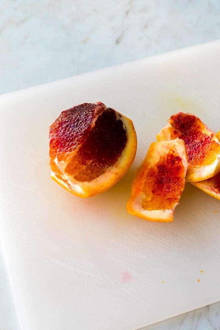 partially peeled blood orange