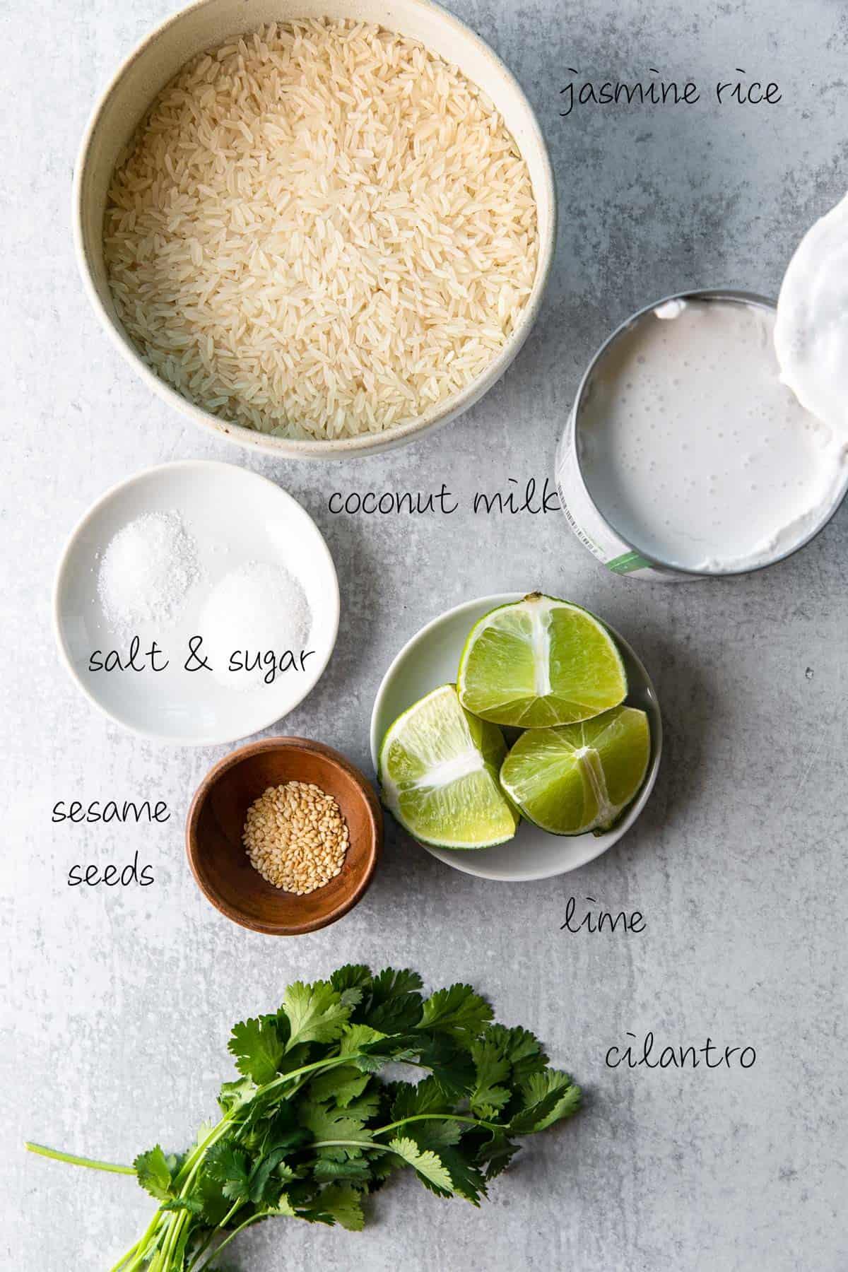 ingredients to make coconut jasmine rice recipe