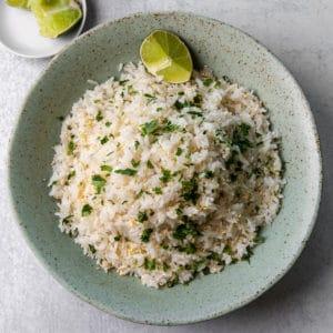 A bowl of coconut jasmine rice.