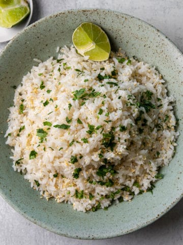 A bowl of coconut jasmine rice.