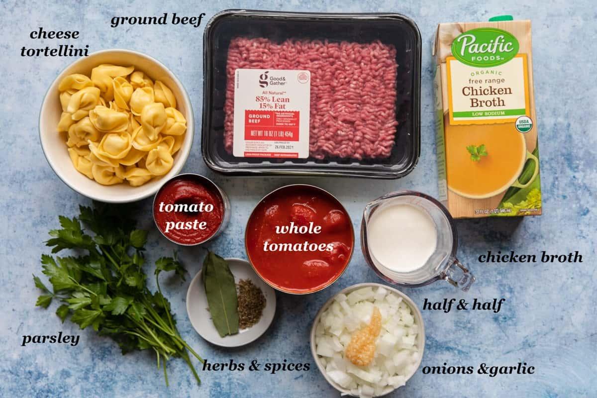 ingredients to make creamy tomato soup