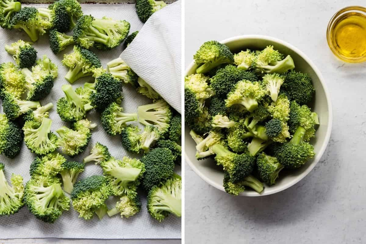 broccoli on a sheet pan being dried with a paper towel
