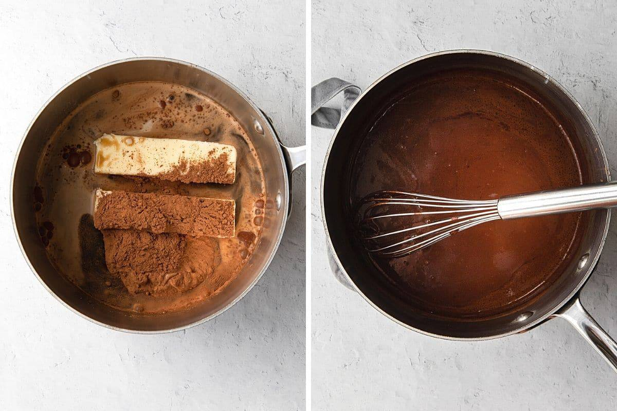 mixture of melted butter and cocoa