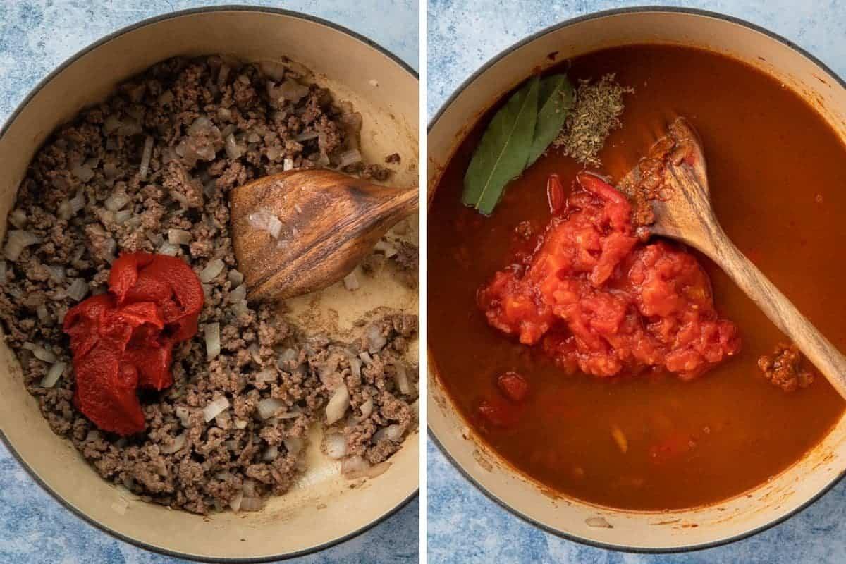 Adding tomato ingredients to make soup.