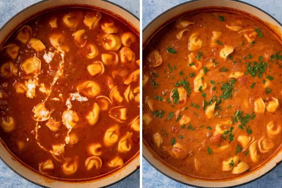Adding cream to make a tortellini soup.