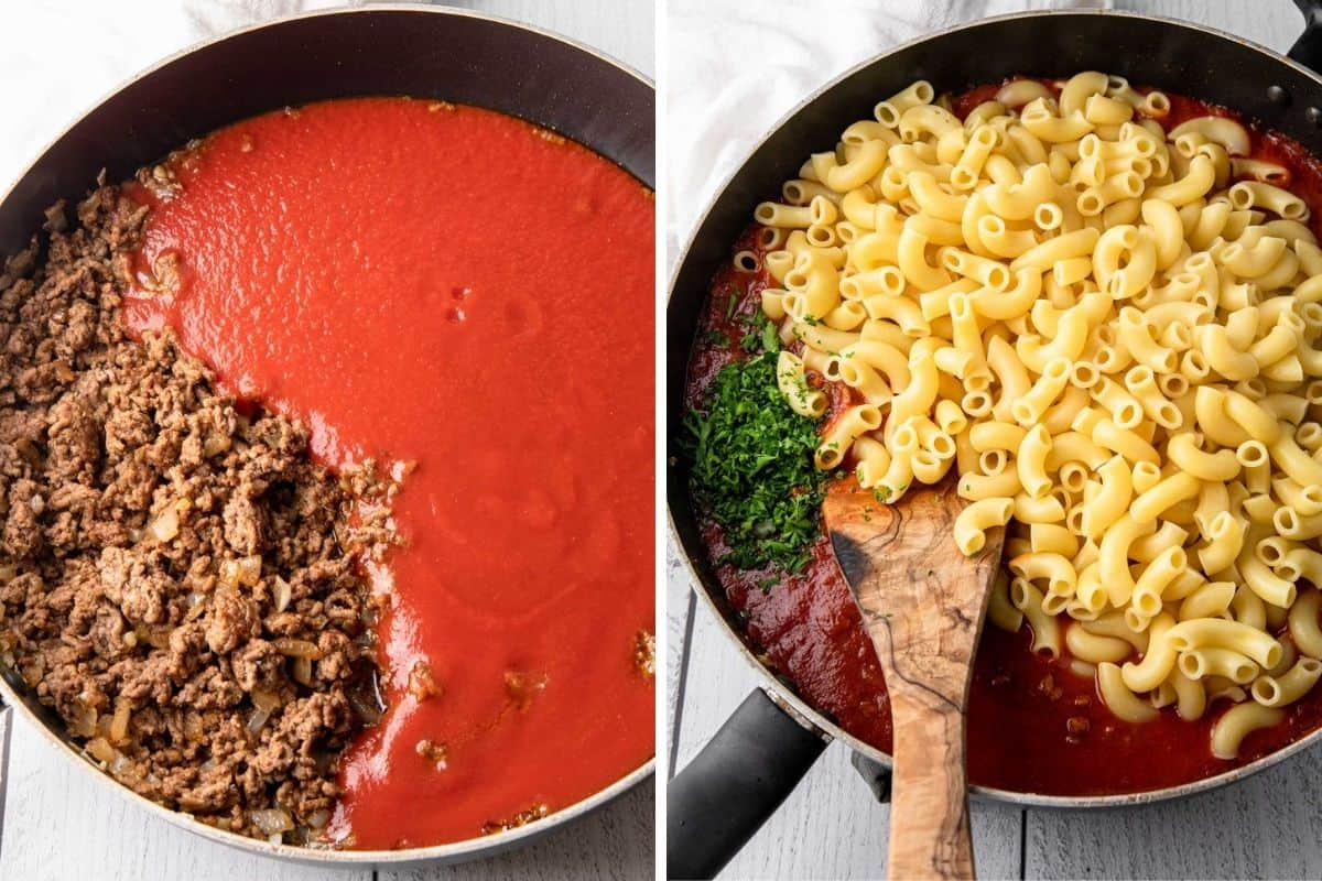tomato sauce and cooked macaroni in a skillet
