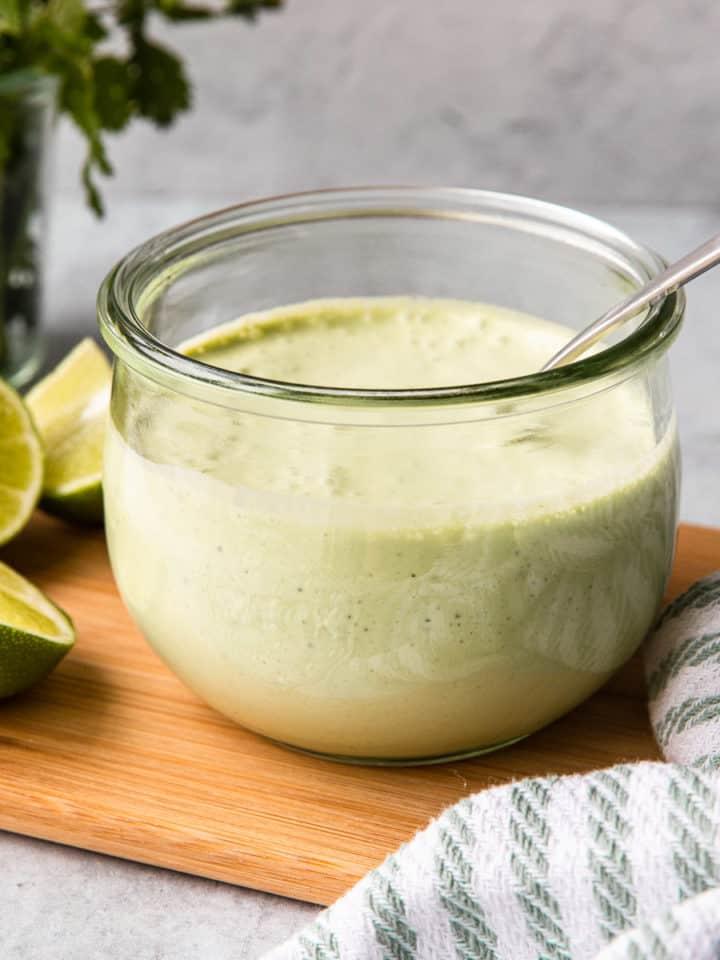 cilantro garlic sauce in a glass container