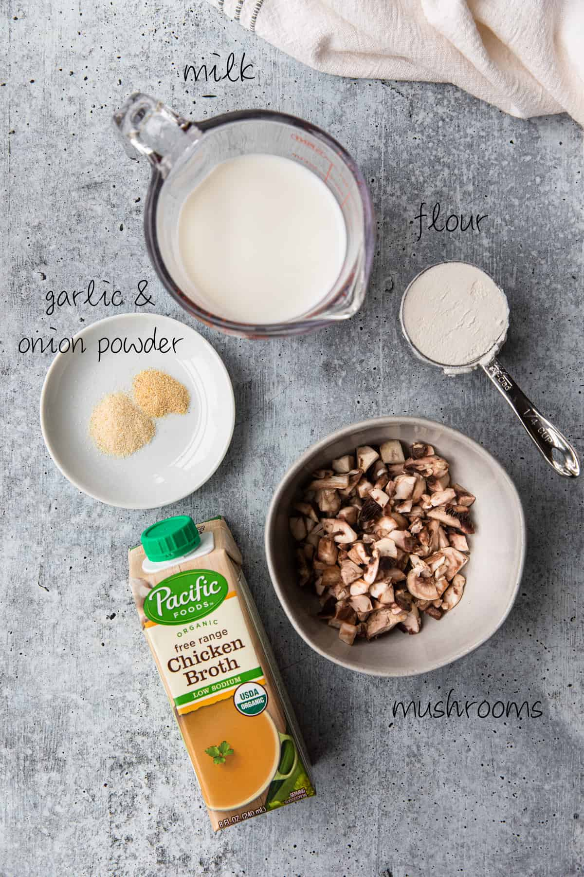ingredients to make cram of mushroom soup substitute