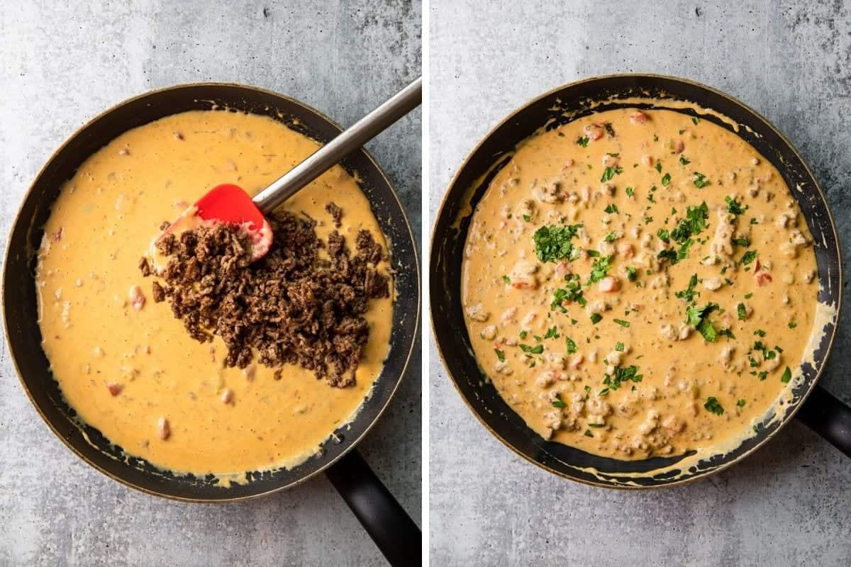 adding cooked ground beef to melted velveeta queso
