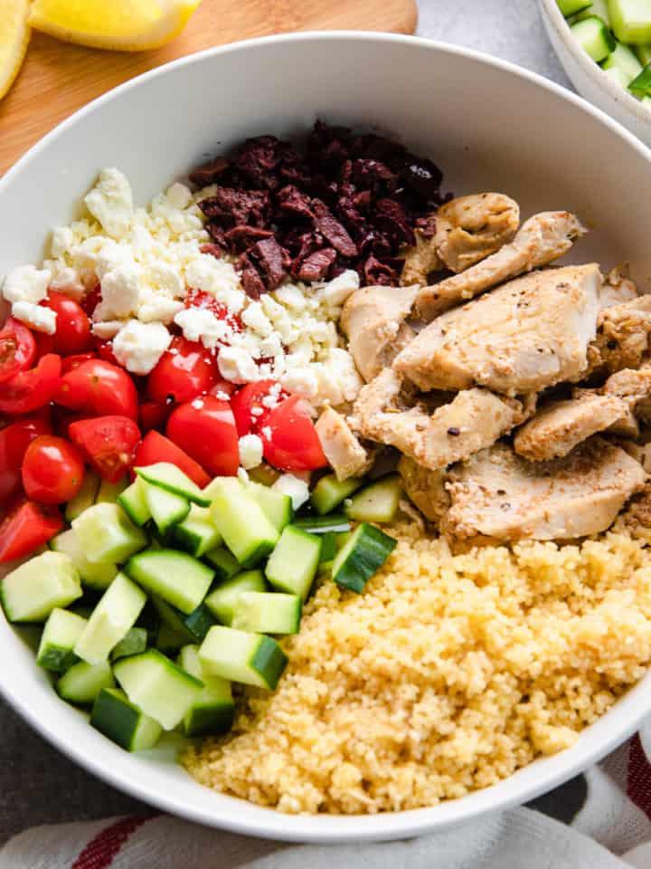 a greek chicken bowl