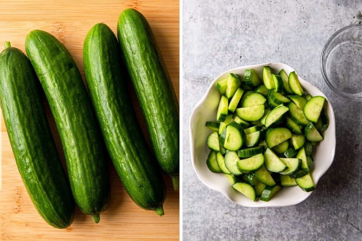 cucumbers on a cutting board, cucumbers sliced into quarters in a bowl