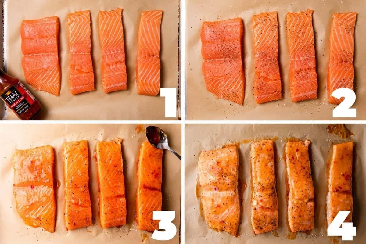 salt and pepper on salmon, sweet chili sauce on salmon, salmon baked