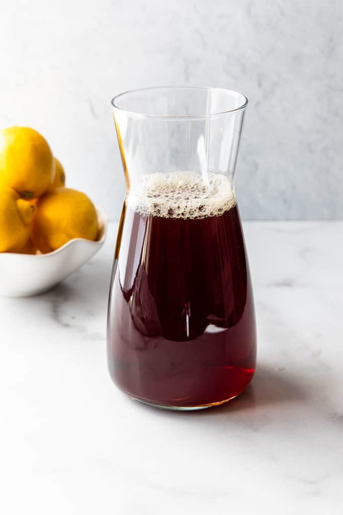 tea brew in a glass container