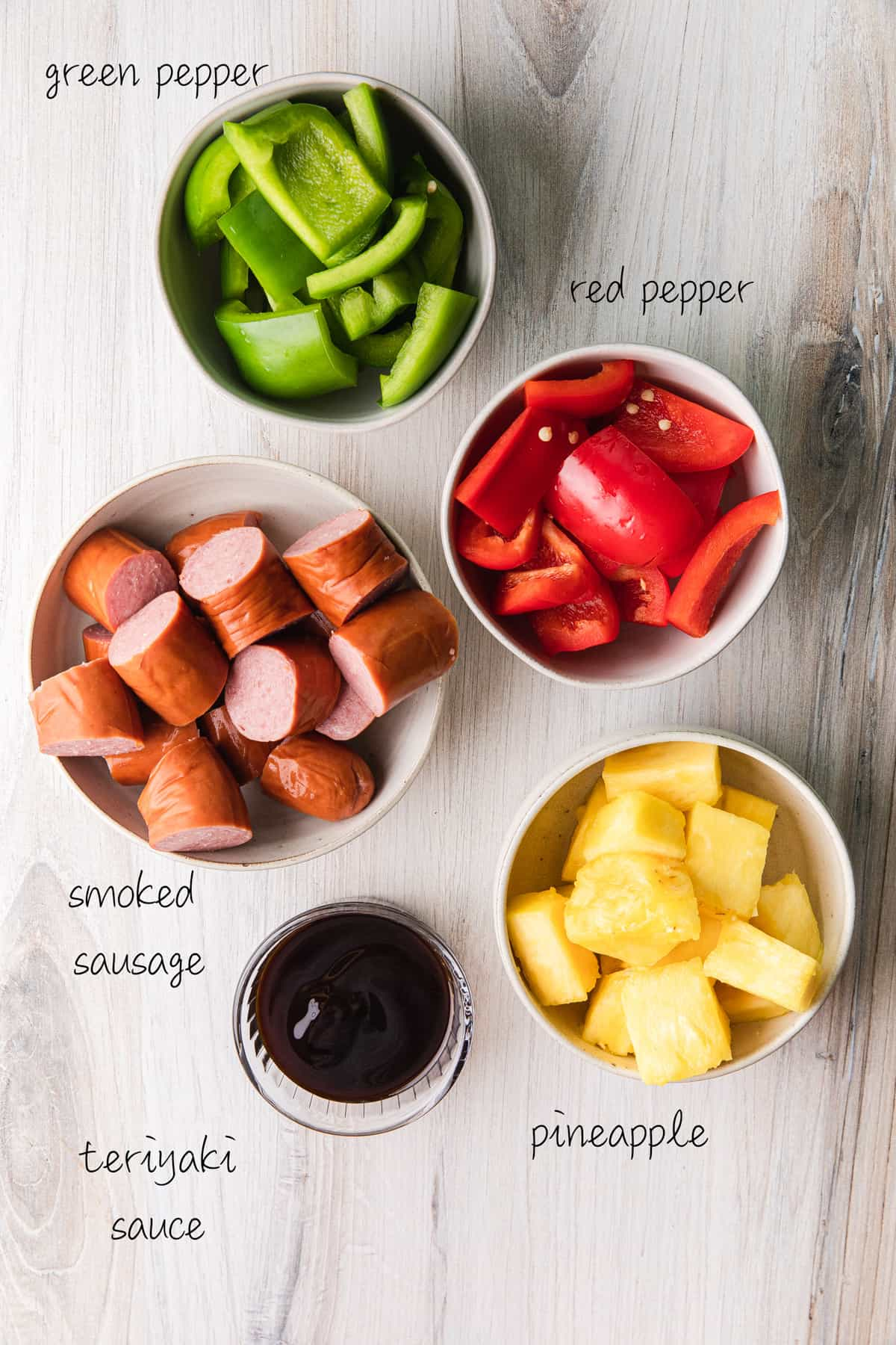 green peppers, red peppers, sausage, pineapple and teriyaki sauce